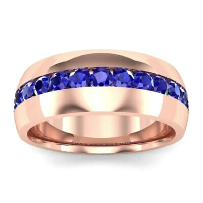 Domed Channel-Set Blue Sapphire Wedding Ring (1.17 Carat)