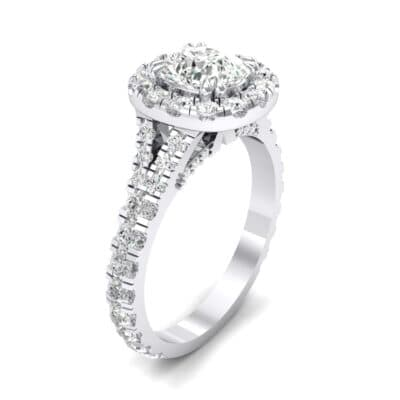 Bridge Initial Cushion-Cut Halo Crystal Engagement Ring (0.93 CTW)