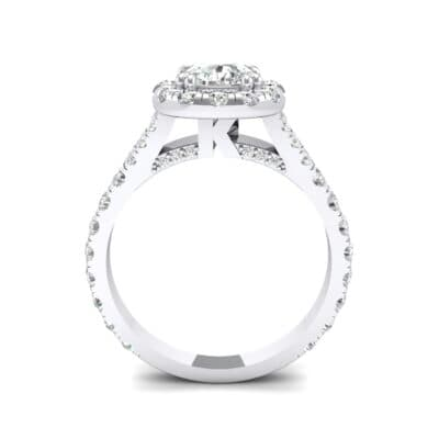 Bridge Initial Cushion-Cut Halo Crystal Engagement Ring (0.93 CTW) Side View