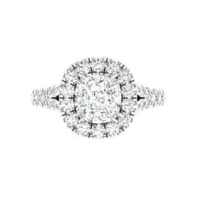 Bridge Initial Cushion-Cut Halo Crystal Engagement Ring (0.93 CTW) Top Flat View