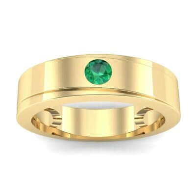 Flat Burnish-Set Solitaire Emerald Wedding Ring (0.1 Carat)