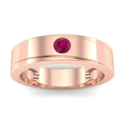 Flat Burnish-Set Solitaire Ruby Wedding Ring (0.1 Carat)