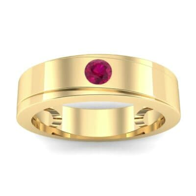Flat Burnish-Set Solitaire Ruby Wedding Ring (0.1 Carat)