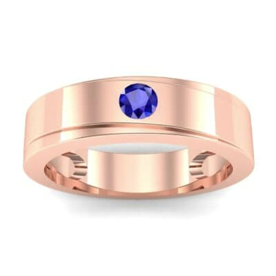 Flat Burnish-Set Solitaire Blue Sapphire Wedding Ring (0.1 Carat)