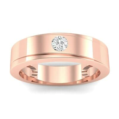 Flat Burnish-Set Solitaire Diamond Wedding Ring (0.09 Carat)