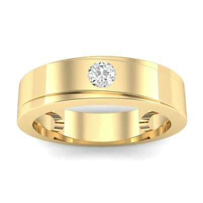Flat Burnish-Set Solitaire Diamond Wedding Ring (0.09 Carat)