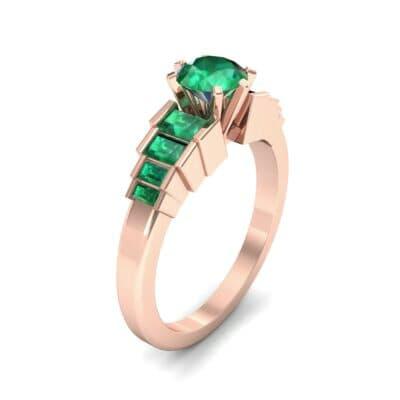 Stepped Shoulder Emerald Engagement Ring (0.67 Carat)
