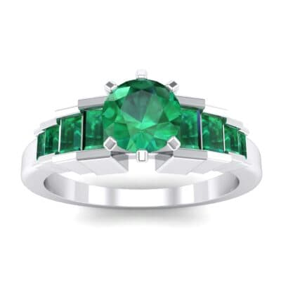 Stepped Shoulder Emerald Engagement Ring (0.67 Carat)