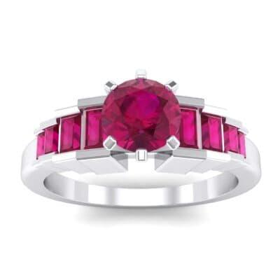 Stepped Shoulder Ruby Engagement Ring (0.67 Carat)