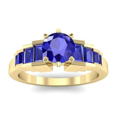 Stepped Shoulder Blue Sapphire Engagement Ring (0.67 Carat)