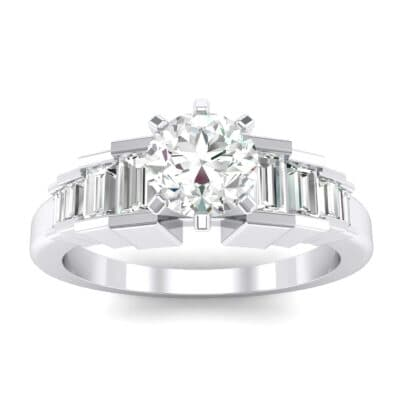 Stepped Shoulder Crystals Engagement Ring (0.67 Carat)
