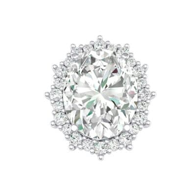 Oval Cluster Halo Crystals Ring (12.86 Carat)