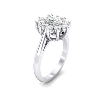 Lotus Oval Cluster Halo Crystal Ring (0.76 CTW)