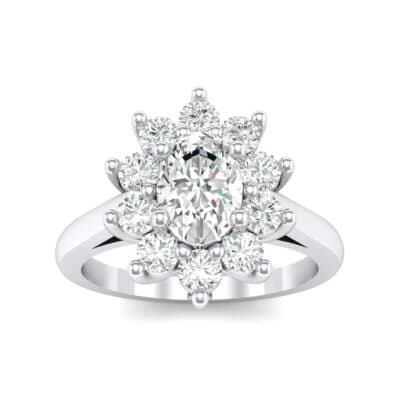 Lotus Oval Cluster Halo Crystals Ring (0.76 Carat)