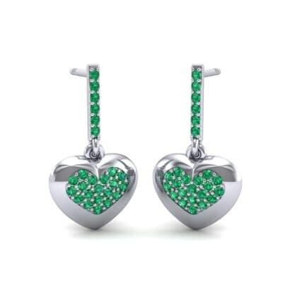 Pave Heart Emerald Drop Earrings (0.75 Carat)
