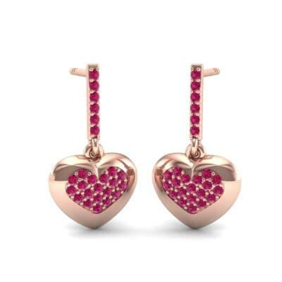 Pave Heart Ruby Drop Earrings (0.75 Carat)