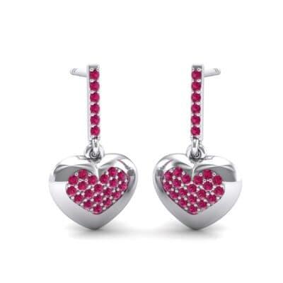Pave Heart Ruby Drop Earrings (0.75 Carat)