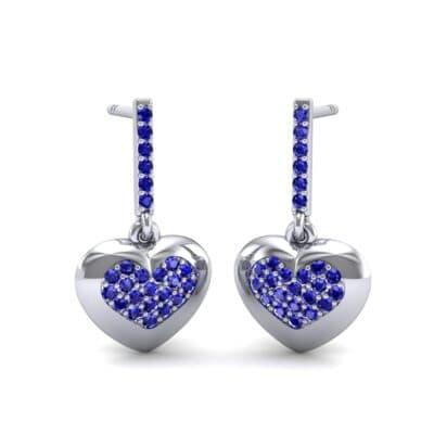 Pave Heart Blue Sapphire Drop Earrings (0.75 Carat)