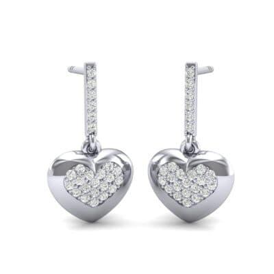 Pave Heart Diamond Drop Earrings (0.5 Carat)