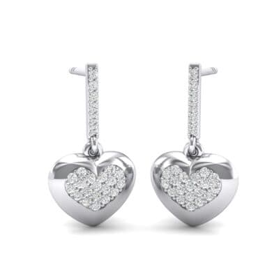 Pave Heart Crystals Drop Earrings (0.5 Carat)