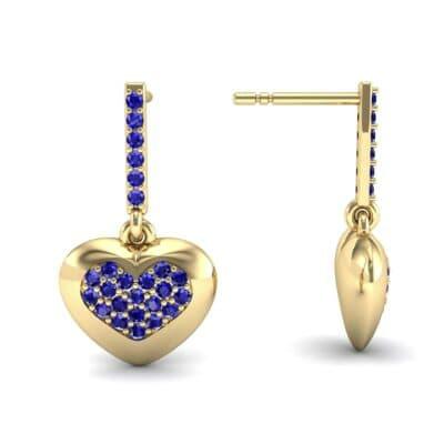 Pave Heart Blue Sapphire Drop Earrings (0.75 CTW) Top Dynamic View