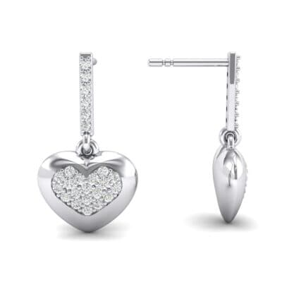 Pave Heart Crystal Drop Earrings (0.5 CTW) Top Dynamic View