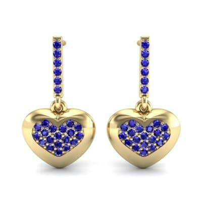 Pave Heart Blue Sapphire Drop Earrings (0.75 CTW) Side View