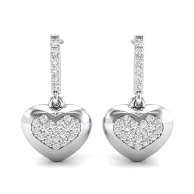 Pave Heart Crystal Drop Earrings (0.5 CTW) Side View