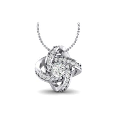 Lotus Oval Cluster Halo Crystals Pendant