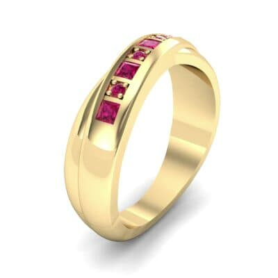 Overlapping Band Ruby Wedding Ring (0.46 Carat)