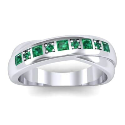 Overlapping Band Emerald Wedding Ring (0.46 Carat)