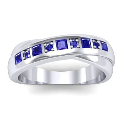 Overlapping Band Blue Sapphire Wedding Ring (0.46 Carat)