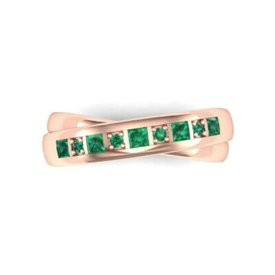 Overlapping Band Emerald Wedding Ring (0.46 CTW) Top Flat View
