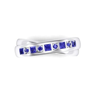 Overlapping Band Blue Sapphire Wedding Ring (0.46 CTW) Top Flat View