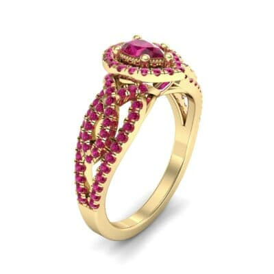 Pave Infinity Pear Halo Ruby Engagement Ring (1.36 Carat)