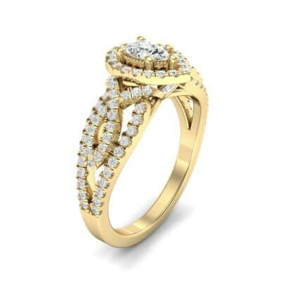 Pave Infinity Pear Halo Diamond Engagement Ring (1.12 Carat)