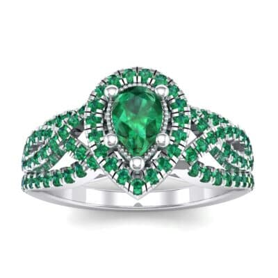 Pave Infinity Pear Halo Emerald Engagement Ring (1.36 Carat)