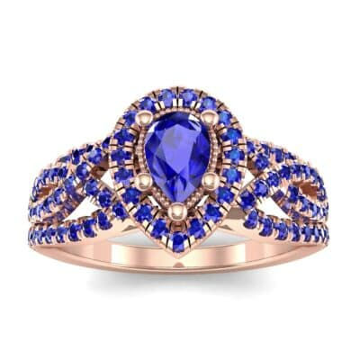 Pave Infinity Pear Halo Blue Sapphire Engagement Ring (1.36 Carat)