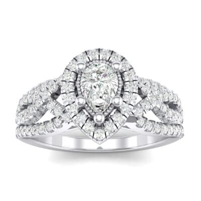 Pave Infinity Pear Halo Crystals Engagement Ring (1.12 Carat)