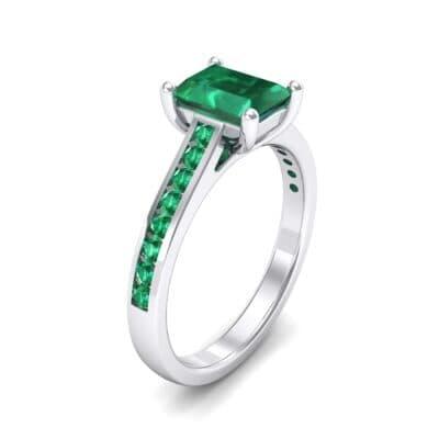 Emerald Cut Channel-Set Emerald Engagement Ring (0.72 Carat)