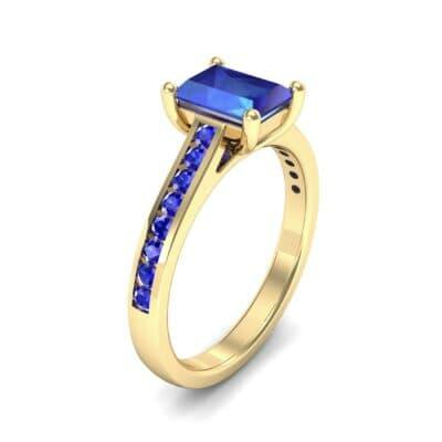 Emerald Cut Channel-Set Blue Sapphire Engagement Ring (0.72 Carat)