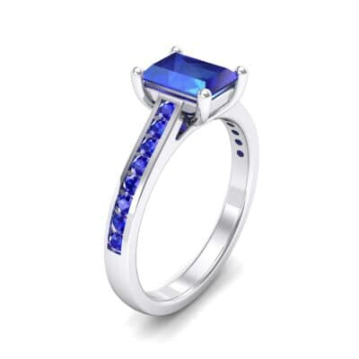 Emerald Cut Channel-Set Blue Sapphire Engagement Ring (0.72 Carat)