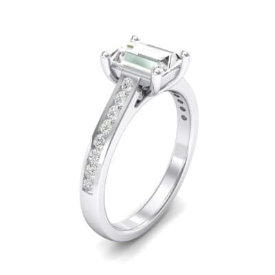 Emerald Cut Channel-Set Crystals Engagement Ring (0.72 Carat)