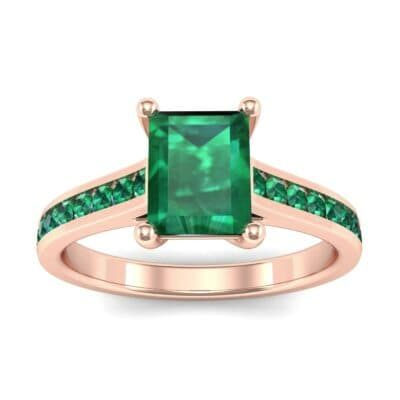 Emerald Cut Channel-Set Emerald Engagement Ring (0.72 Carat)