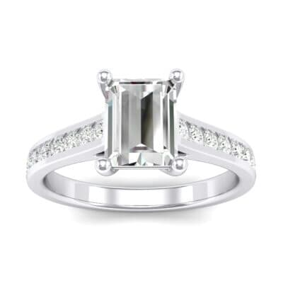 Emerald Cut Channel-Set Diamond Engagement Ring (0.72 Carat)