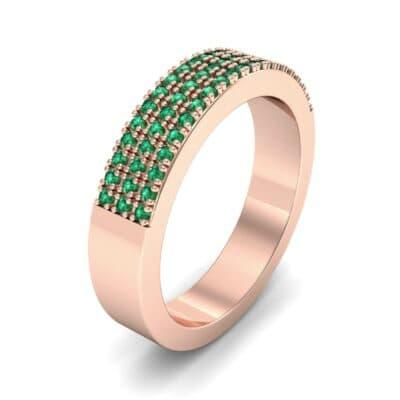 Flat Three-Row Micropave Emerald Ring (0.4 Carat)