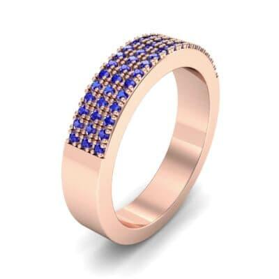Flat Three-Row Micropave Blue Sapphire Ring (0.4 Carat)