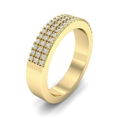 Flat Three-Row Micropave Diamond Ring (0.29 Carat)