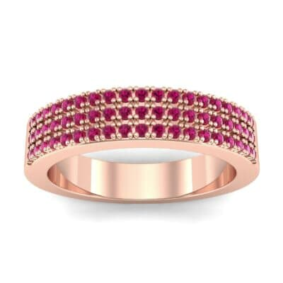Flat Three-Row Micropave Ruby Ring (0.4 Carat)