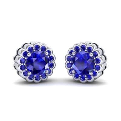Sunflower Blue Sapphire Earrings (1.24 Carat)